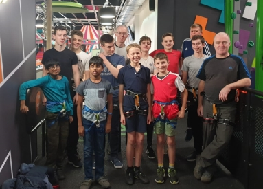 the boys and staff ready for climbing