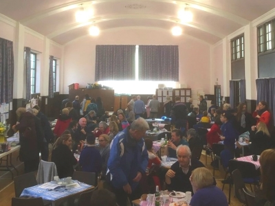 A busy large hall during our Coffee Morning