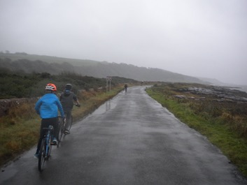 Cycling into the wind and rain